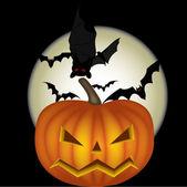Moon and bats and pumpkin — Stock Vector