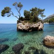 Rock island in Brela, Adriatic coast of Croatia — Stock Photo
