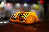 Yellow sign of the Istanbul taxi, Turkey — Stock Photo