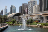 Fountain in front of a Metro Station, Dubai — Stock Photo