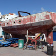 Old boat repair. Los Cristianos, Canary Island Tenerife, Spain — Stock Photo