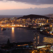 Aerial view of Los Cristianos at dusk. Canary Island Tenerife, Spain - Stock Photo