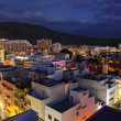 View over the roofs of Los Cristianos at dusk. Canary Island Tenerife, Spai — Stock Photo