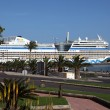 Cruise ship AIDAblu in the harbor of Puerto del Rosario, Canary Island Fuer - Stock Photo