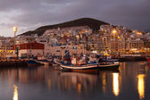 Fishing harbor of Los Cristianos at dusk. Canary Island Tenerife, Spain — Stock Photo