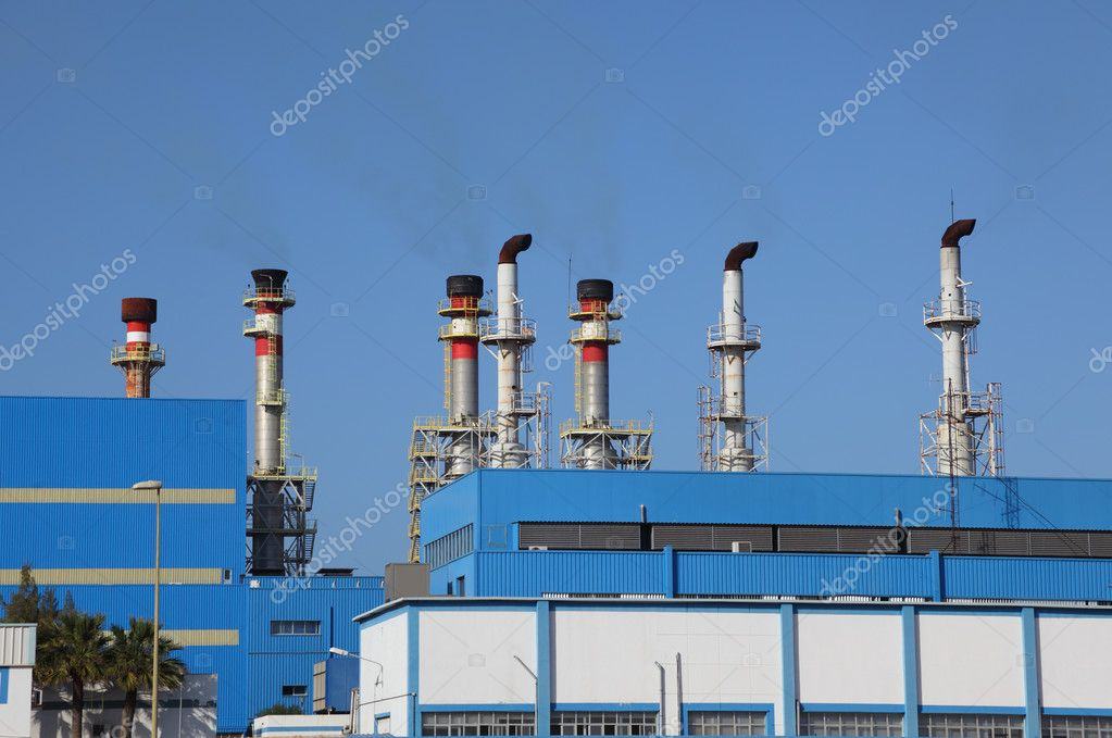 Chimneys of a modern power station  — Stock Photo #6376419