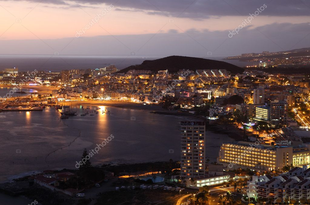 Aerial view of Los Cristianos at dusk. Canary Island Tenerife, Spain  Stock Photo #6377065