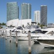 Boats at Miami Bayside Marina, Florida — Stock Photo