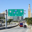 Miami Downtown view from Port Boulevard, Florida USA - Stock Photo
