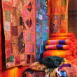 Traditional oriental fabrics in Fes, Morocco — Stock Photo
