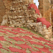 Stock Photo: Red dyed animal skins drying in Fes, Morocco