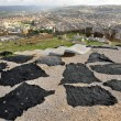 Stock Photo: Black dyed animal skins drying in Fes, Morocco