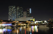 Miami Bayside Marina at night, Florida USA — Stock Photo