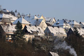 Snow-covered houses in a German town — Fotografia Stock