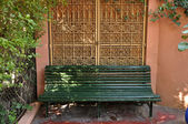 Bench in Jardin Majorelle, Marrakech, Morocco — Stockfoto