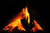 Fire in the Fireplace — ストック写真