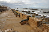 Cannons at Ramparts in Essaouria, Morocco Africa — Foto Stock