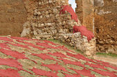 Red dyed animal skins drying in Fes, Morocco — Stock Photo