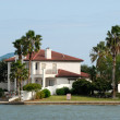 Stock Photo: House waterside on Padre Island, Southern Texas, USA