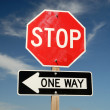 Stop One Way traffic signs — Stock Photo