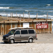 Surfer van on the beach — Stock Photo