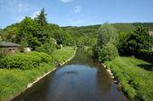 Landscape with the river Siegen. Siegerland, North Rhine-Westphalia, German — Stock Photo