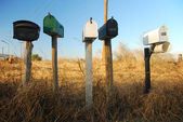 U.S. Mailboxes on a country road — Stockfoto