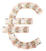 Euro Sign made of 50 Euro bills — Stock Photo