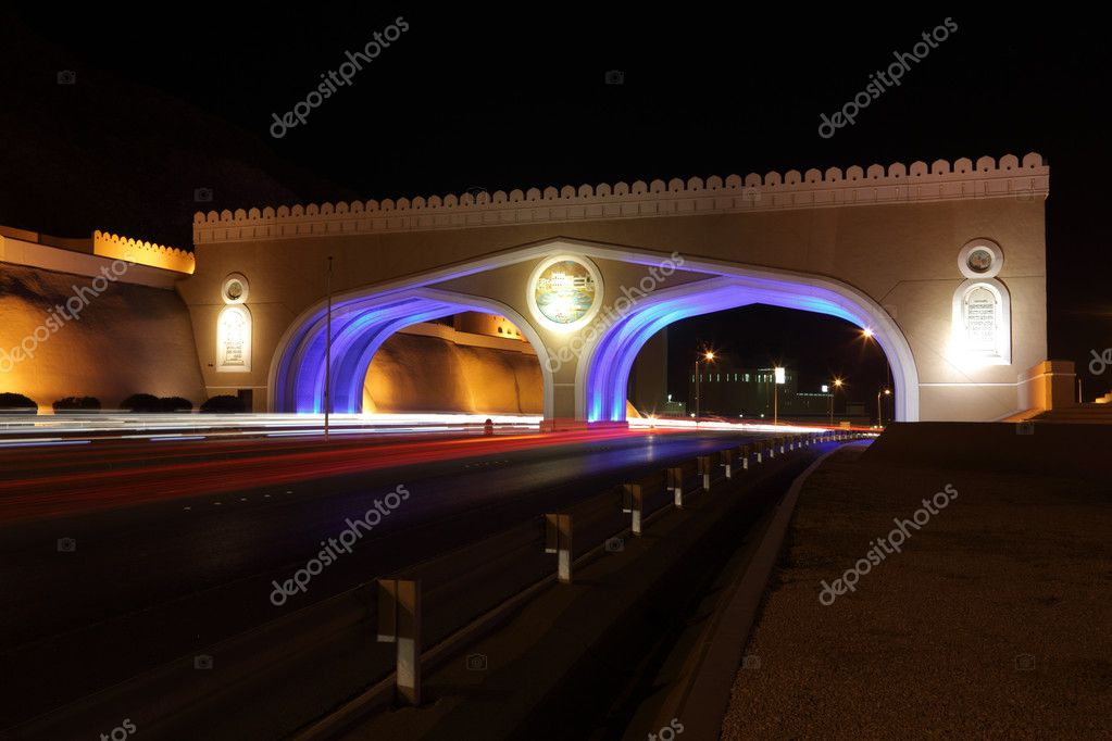 Gate to Muttrah, Illuminated at night. Muscat, Sultanate of Oman  Stock Photo #6502187