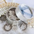 Casket with pearl beads and silver ornaments — Stock Photo