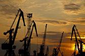 Sunset in the Ukrainian sea port (UKRAINE) — Foto Stock