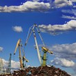 Industrial grabber cranes — Stock Photo