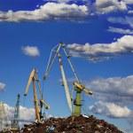 Industrial grabber cranes — Stock Photo