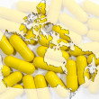 Map of Canada with capsules in background — Stock Photo