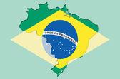 Overzicht kaart van brasil met transparante braziliaanse vlag in backgr — Stockfoto
