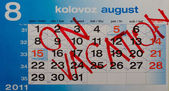 Calendar reserved for vacation in august — Stock Photo