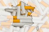 Mapa da finlândia com cigarros no fundo — Foto Stock