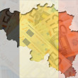 Royalty-Free Stock Photo: Outline map of Belgium with transparent euro banknotes in backgr