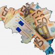 Royalty-Free Stock Photo: Outline map of Belgium with euro banknotes in background