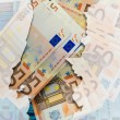Outline map of Portugal with transparent euro banknotes in backg — Stock Photo