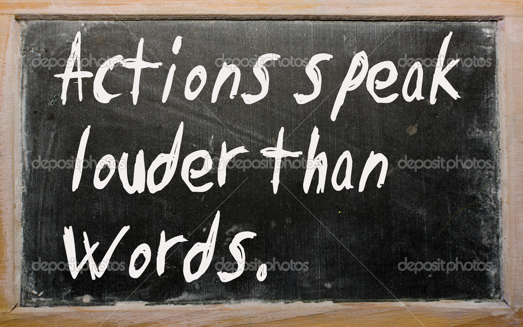 Blackboard writings Actions speak louder than words — Stock Photo #6573849