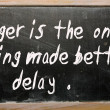 """Anger is the one thing made better by delay"" written on a black — Stock Photo"