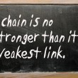 """A chain is no stronger than its weakest link"" written on a blac — Stockfoto"