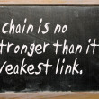 """A chain is no stronger than its weakest link"" written on a blac — ストック写真"