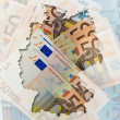 Outline map of Germany with transparent euro banknotes in backgr — Stock Photo