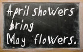 """April showers bring May flowers"" written on a blackboard — Stock Photo"