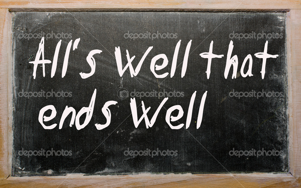 Blackboard writings All's well that ends well — Stock Photo #6642461