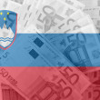Flag of Slovenia with transparent euro banknotes in background — Stock Photo