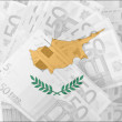Flag of Cyprus with transparent euro banknotes in background — Stock Photo