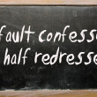 "Stock Photo: ""fault confessed is half redressed"" written on blackboard"
